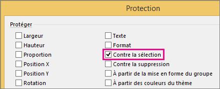 Option À partir de la sélection dans la boîte de dialogue Protection dans Visio2016
