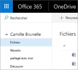 Affichage Fichiers dans OneDrive Entreprise