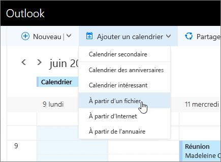 Capture d'écran de la liste Ajouter un calendrier avec l'option À partir d'un fichier sélectionnée.