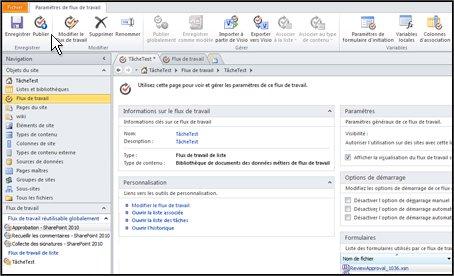 Lorsque vous sélectionnez le nom du flux de travail, SharePoint Designer ouvre une page dans laquelle vous pouvez publier le flux de travail.