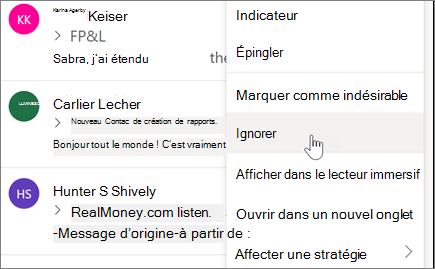 Ignorer une conversation par courrier électronique dans Outlook sur le Web