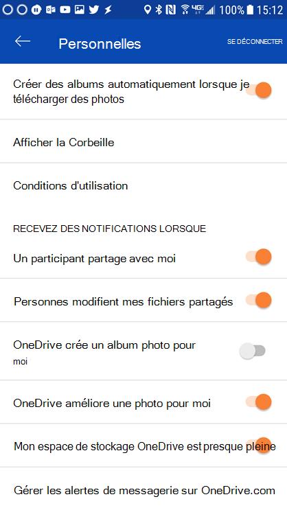 Accédez aux paramètres de votre application OneDrive pour Android pour définir les paramètres de notification.