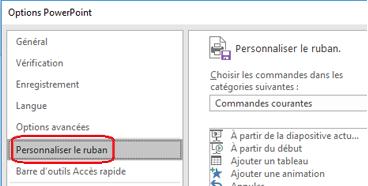 Sélectionnez le fichier, puis sur Options, puis personnaliser le ruban.