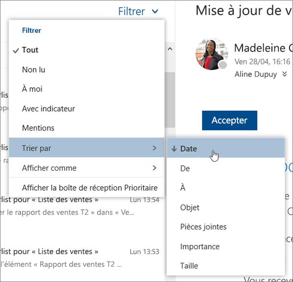 Capture d'écran du menu Filtre avec la sélection Trier par