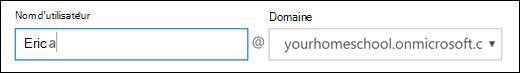 Capture d'écran de l'ajout d'un utilisateur dans Office 365, présentant les champs nom d'utilisateur et le domaine.