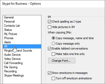 Fenêtre Options de messagerie instantanée