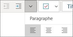 Aligner des paragraphes à gauche dans l'application OneNote pour Windows10