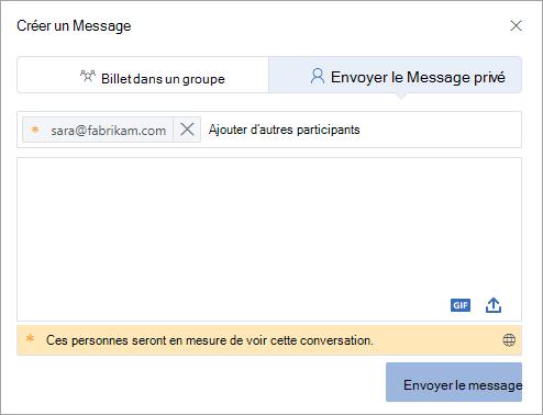 Ajouter un participant externe à un message privé