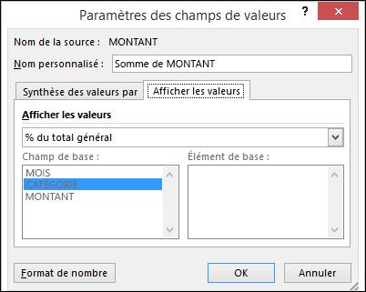 Paramètres des champs de tableau croisé dynamique valeur > boîte de dialogue Afficher les valeurs sous