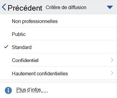 Menu de diffusion sur iOS avec les étiquettes de confidentialité affichées