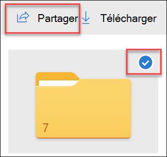 Image d'un dossier dans OneDrive et option partager.