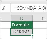 Excel affiche une erreur #NOM? lorsque le nom d'une fonction est mal orthographié
