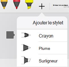 La Galerie de stylos dans Office pour iPad et iPhone inclut une texture de crayon
