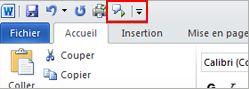 Commande de fonctionnalité vocale dans la barre d'outils Accès rapide