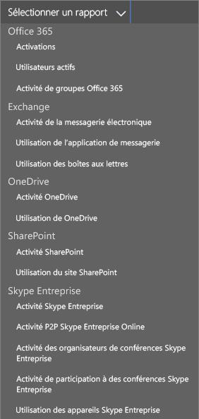 Option Sélectionner un rapport dans Office365