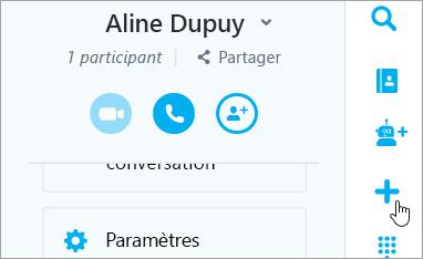 Capture d'écran du bouton nouvelle conversation