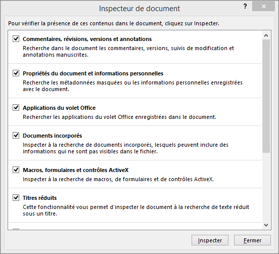 Options de la boîte de dialogue Inspecteur de document