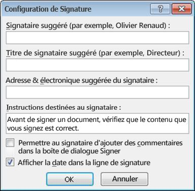 Boîte de dialogue Configuration de signature