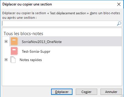OneNote pour Windows2016 - Boîte de dialogue Déplacer ou copier une section
