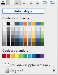 Menu de sélection des couleurs de police dans Word pour Mac