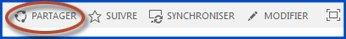 Capture d'écran des boutons de contrôle de site sur un site d'équipe. Le bouton Partager est entouré