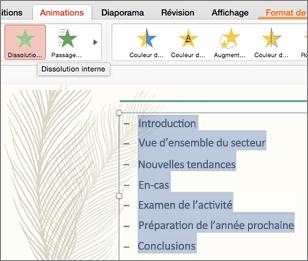 Sélectionnez toutes les puces dans la diapositive et sélectionnez un effet d'animation de trajectoire