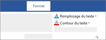 Options Remplissage du texte et Contour du texte de la règle