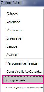Dans le menu Options, cliquez sur Compléments.