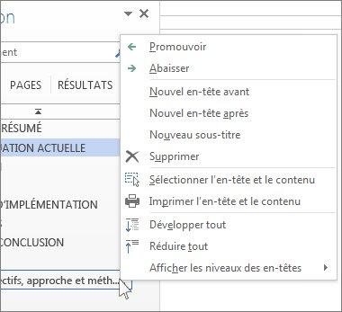 Options du menu contextuel pour les titres dans le volet de navigation