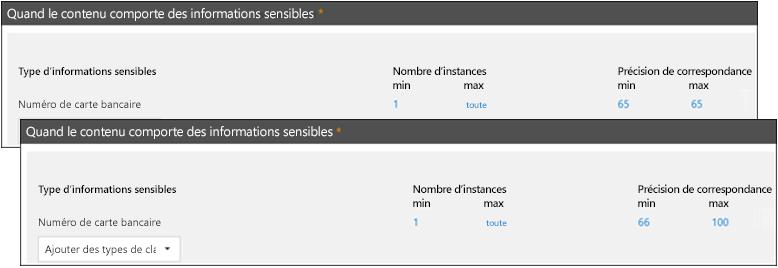 Deux règles avec des plages différentes de précision de correspondance