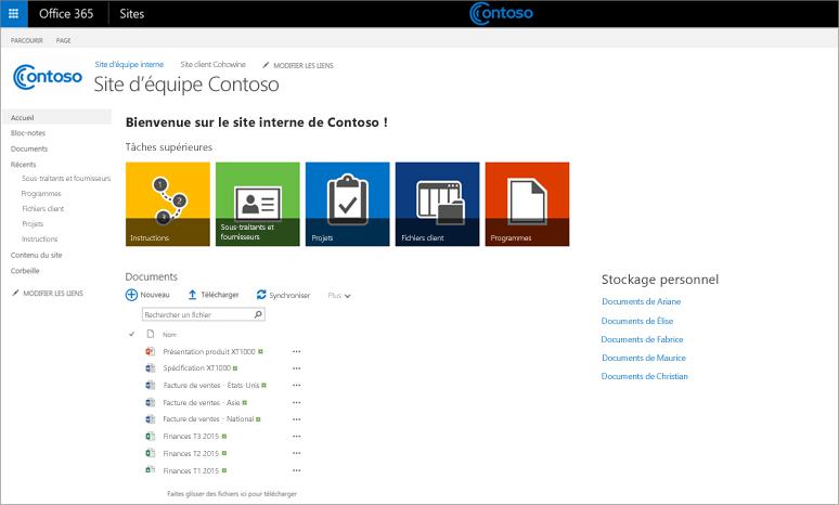 Capture d'écran d'un site d'équipe personnalisé avec un sous-site