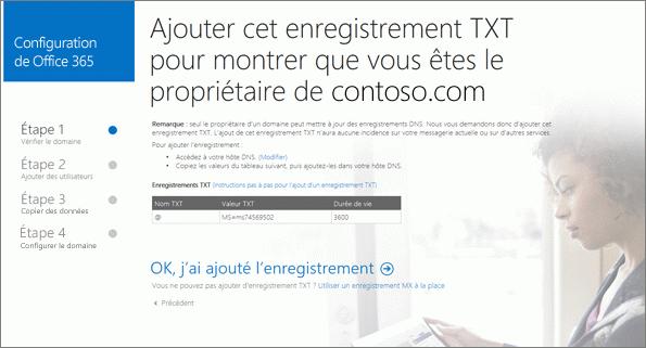 Ajouter un enregistrement TXT pour vérifier que vous êtes propriétaire du domaine