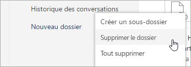 Capture d'écran de l'option Supprimer le dossier