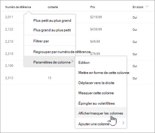 Cliquez sur la flèche vers le bas sur un en-tête de liste, sélectionnez Paramètres de colonne, puis afficher/masquer les colonnes