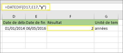 """=DATEDIF(D17;E17;""""y"""") avec le résultat: 2"""