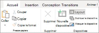 Bouton disposition sous l'onglet Accueil du ruban dans PowerPoint online.