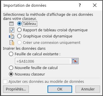 Boîte de dialogue Importer des données à partir d'Excel 2016