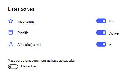 Capture d'écran de listes actives dans les paramètres avec l'option important, planifié et attribué à moi activée et masquer automatiquement les listes actives vides.