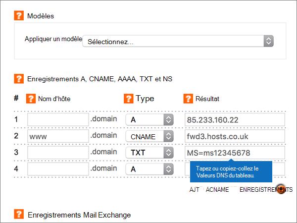 Saisie des valeurs sur la page Add/Modify DNS Zone (Ajouter/Modifier une zone DNS)