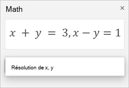 Équation de systèmes créée à l'aide d'une virgule