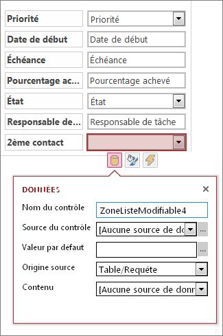 État initial de la zone de propriété pour un contrôle de liste déroulante