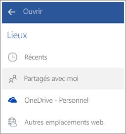 Capture d'écran montrant comment consulter des fichiers que d'autres personnes ont partagés avec vous sur Android