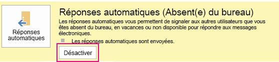 Capture d'écran de la boîte de dialogue de désactivation des messages automatiques dans Outlook