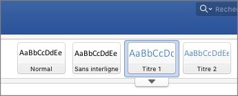 Capture d'écran des options de style de titre