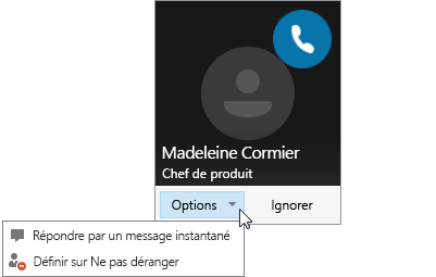 Capture d'écran d'une notification d'appel avec le menu Options ouvert.