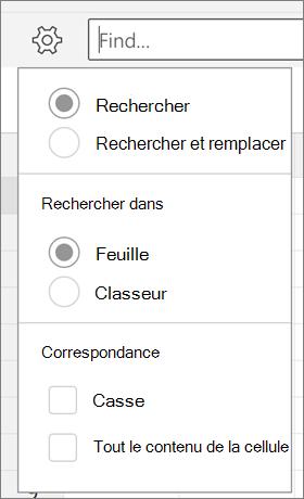 Affiche les options de recherche, rechercher et remplacer, feuille, classeur, casse et tout contenu de cellule pour rechercher dans Excel pour Android.