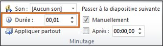 Tapez en nombre de secondes la durée de transition souhaitée dans la zone de texte Durée dans le groupe Minutage.