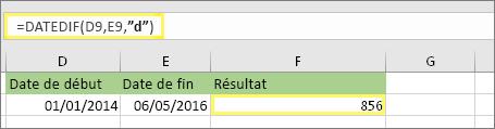"""=DATEDIF(D9;E9;""""d"""") avec le résultat 856"""