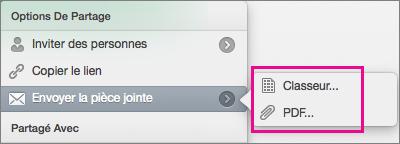 Envoyer votre feuille de calcul comme un classeur Excel ou un fichier PDF