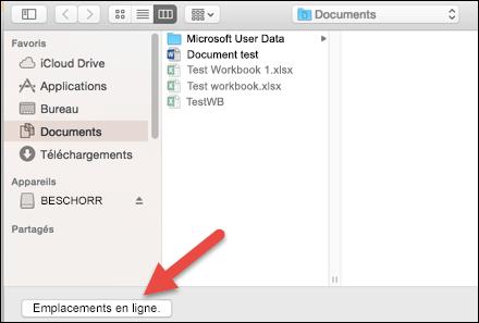 Menu Fichier - Ouvrir dans l'affichage «Sur mon Mac»
